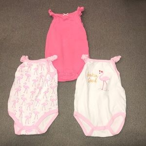 Hudson Baby Flamingo Themed Onesies (0-3 mo)